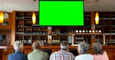 juntar : Group of happy friends watching television in bar 4k Stock Footage
