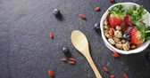 yabanmersini : Close-up of healthy breakfast in a bowl 4k