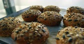 устроенный : Delicious baked buns topped with mixed seeds placed on tray 4k
