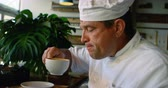pohostinství : Close up of Chef having coffee 4k