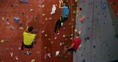 pedregulhos : Rear view of men and woman climbing down the artificial wall at bouldering gym 4k Stock Footage