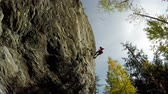 góral : Low angle view of rock climber descending down the cliff in forest 4k