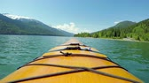 banff : Tourist rowing a boat in the river on a sunny day 4k Stock Footage