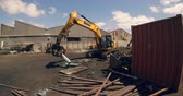 disposição : Crane lifting scrap in scrapyard on a sunny day 4k