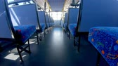 шины : Rows of empty seats in a bus 4k Стоковые видеозаписи