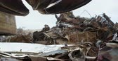 recyklace : Various metal scrap in the junkyard 4k
