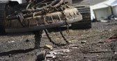 engomar : Close-up of excavator machine being operated in the junkyard 4k