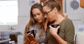 domicílio : Lesbian couple discussing over a mobile phone at home 4k Stock Footage