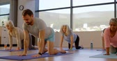 věnování : Trainer assisting senior women in performing yoga at yoga center 4k