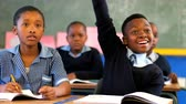 estudioso : Schoolkid hand raised in the classroom at school 4k Stock Footage
