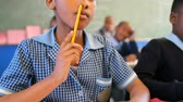 estudioso : Schoolkid studying in the classroom at school 4k