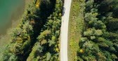 overhead shot : Aerial view of road at countryside on a sunny day 4k Stock Footage