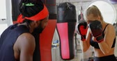 dedicação : Young female boxer practicing boxing in fitness studio 4k