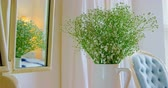 акцент : Flower in vase at home. Reflection of flower vase in mirror 4k Стоковые видеозаписи