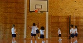 teach : Rear view of group of diverse schoolkids practicing basketball in basketball court at school. Schoolgirl sitting on basketball 4k Stock Footage