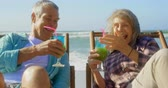 saúde : Front view of active senior Caucasian couple toasting glasses of cocktail on the beach. They are relaxing on sun lounger 4k Stock Footage