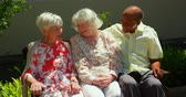 abrigo : Group of active mixed-race senior friends interacting with each other in the garden of nursing home. They are sitting on a bench 4k