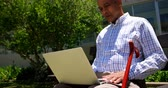 três quarto comprimento : Front view of active Asian senior man using laptop in the garden of nursing home. He is sitting on a bench in the garden 4k