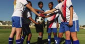 amateurvoetbal : Front view of happy diverse female soccer team clasping hands together on soccer field on sunny day. 4k