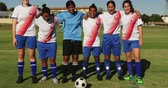 amateurvoetbal : Front view of happy diverse female soccer team standing arm to arm on soccer field on sunny day. 4k Stockvideo