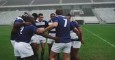 po celé délce : Rear view of diverse male rugby players forming huddles in the ground. They are talking and planing 4k