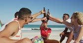 suntan : Close up of a multi-ethnic group of happy young adult male and female friends hanging out on a beach together, making a toast with their bottles, sitting and drinking beers. Young friends having summer fun on the beach together 4k