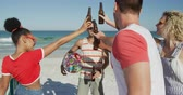 suntan : Close up of a multi-ethnic group of happy young adult male and female friends hanging out on a beach together, standing, making a toast with their bottles and drinking beers. Young friends having summer fun on the beach together 4k