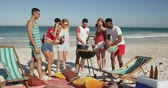amusing : Front view of a multi-ethnic group of young adult friends standing on a beach having a barbecue. Young friends having summer fun on the beach together 4k