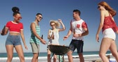 suntan : . Young friends having summer fun on the beach together 4k Stock Footage