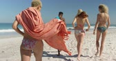bronzlaşmış : Close up back view of a multi-ethnic group of young adult friends walking on a beach carrying beach towels. Young friends having summer fun on the beach together 4k