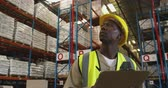 panoya : Close up front view of a young African American male warehouse worker writing on a clipboard and looking up at storage shelves in a warehouse. They are working in a freight transportation and distribution warehouse. Industrial and industrial workers conce Stok Video