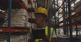distribution : Close up front view of a middle aged Caucasian female warehouse worker wearing a yellow hard hat and using a tablet computer while she patrols the corridors of a warehouse at night. They are working in a freight transportation and distribution warehouse.  Stock Footage