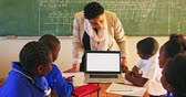 бедность : Front view of a middle aged African school teacher standing in front of the class showing her pupils a laptop computer during a lesson in a township elementary school classroom. In the foreground the rear view of her pupils sitting at desks watching 4k