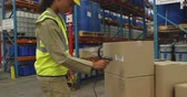 codice a barre : Side view close up of a young mixed race female warehouse worker scanning a label on a box with a barcode reader in a warehouse loading bay and then carrying the box away