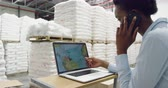sack : Side view close up of a young mixed race female warehouse manager using a laptop computer at a standing desk and talking on a smartphone in a storage warehouse Stock Footage