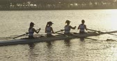visier : Side view of a team of four young adult Caucasian women rowing in a racing shell training on a river