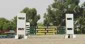 лошадиный : Rear view of smartly dressed African American man riding a chestnut Dressage horse at a show jumping event, jumping a fence, slow motion Стоковые видеозаписи