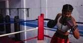 hoek : Front view of a mixed race female boxer with long plaited hair at a boxing gym, standing in a boxing ring wearing a gumshield, banging her gloves together, looking to camera, throwing punches and preparing to box, slow motion Stockvideo