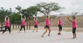 engel : Side view of a happy multi-ethnic group of female friends enjoying exercising at boot camp together, wearing pink t shirts, doing jumoing jacks with a mixed race female coach motivating them, in slow motion Stok Video