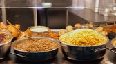 lunchroom : Buffet with cooked food at restaurant Stock Footage