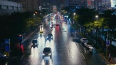 толпа : City night view, out of focus. Стоковые видеозаписи