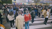 bilboard : Tokyo Japan 02 April 2019:business People At Shibuya Crossing. 4K Resolution Wideo