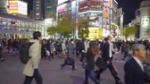 taksi : Tokyo Japan 02 April 2019:business People At Shibuya Crossing. 4K Resolution Stok Video