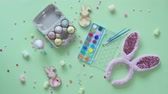 バニー : Colorful easter egg decoration on green background. 動画素材