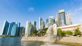 singapore : Singapore - Circa April 2019: City Skyline, Marina Bay And Raffles Place, Vie