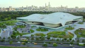 kamu : Kaohsiung, Taiwan -- June 6, 2019: Aerial View Of kaohsiung opera house. Stok Video