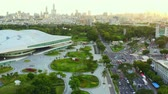 stadyum : Kaohsiung, Taiwan -- June 6, 2019: Aerial View Of kaohsiung opera house. Stok Video