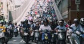 bekliyor : Dihua Street, Taipei City, Taiwan, 27 May 2019:- Heavy Rush Hour Scooter Traffic