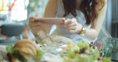 gerçek : Closeup Hand Holding Phone Shooting Food Photograph