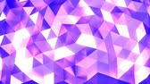 facet : Pink - blue - white abstract background of moving shinning triangles (low poly) seamless loop Stock Footage